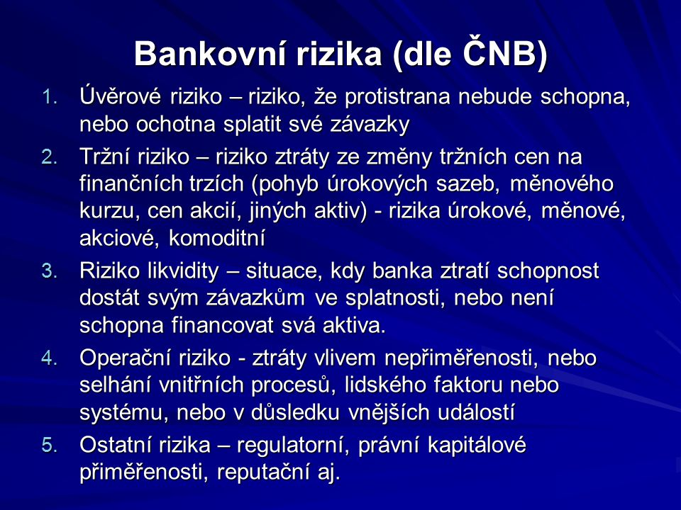 Bankovní rizika (dle ČNB)