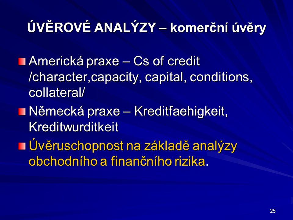 ÚVĚROVÉ ANALÝZY – komerční úvěry