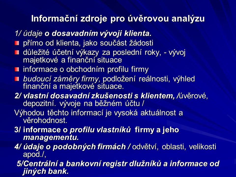 Informační zdroje pro úvěrovou analýzu