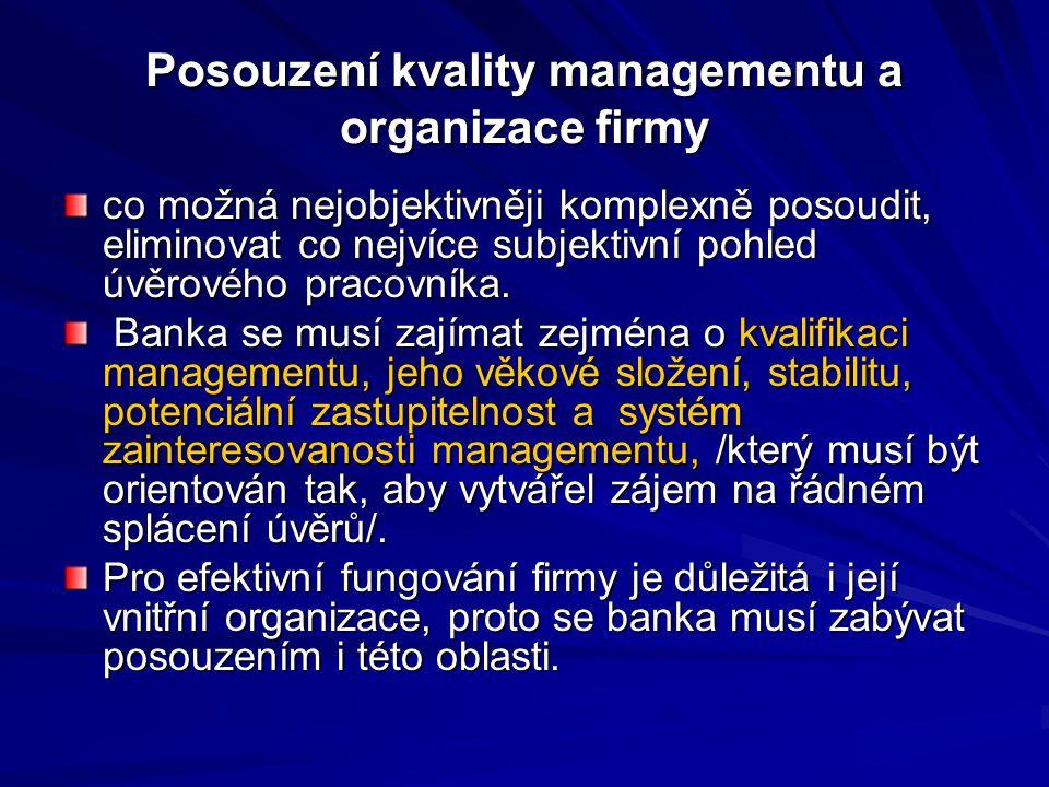 Posouzení kvality managementu a organizace firmy