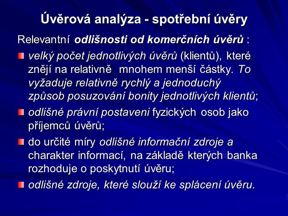 Úvěrová analýza - spotřební úvěry