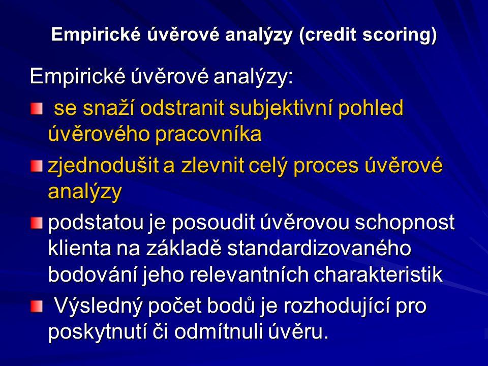 Empirické úvěrové analýzy (credit scoring)