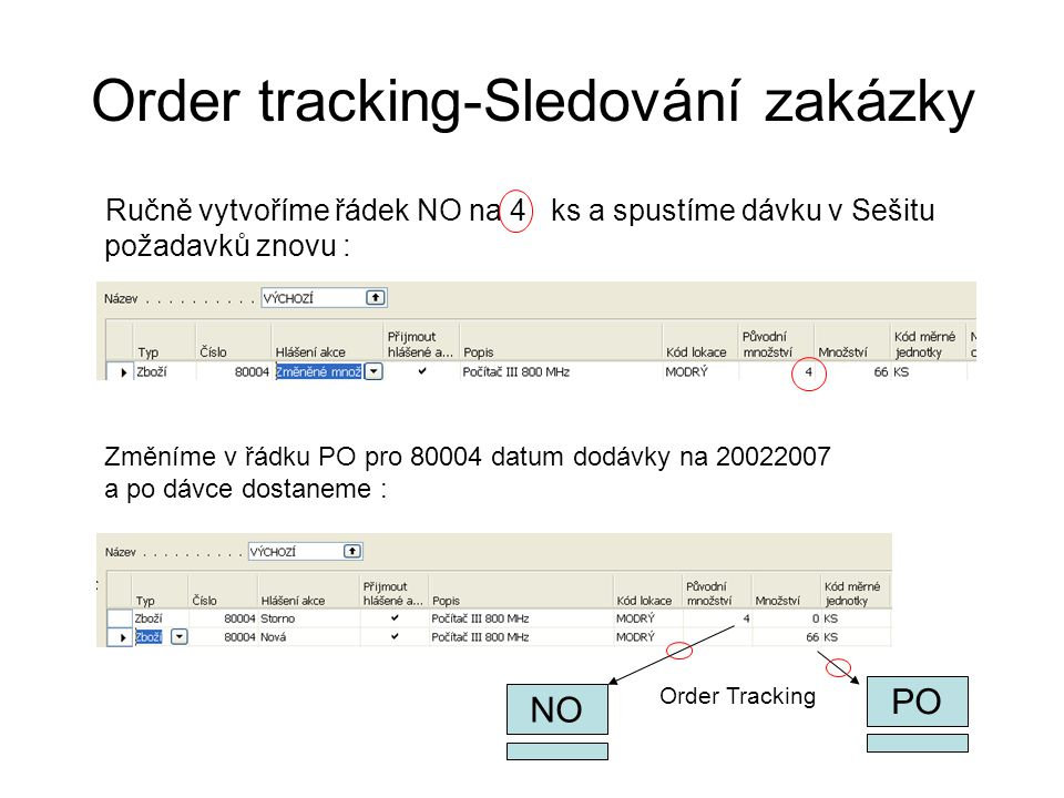 Order tracking-Sledování zakázky