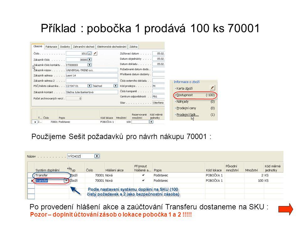 Příklad : pobočka 1 prodává 100 ks 70001