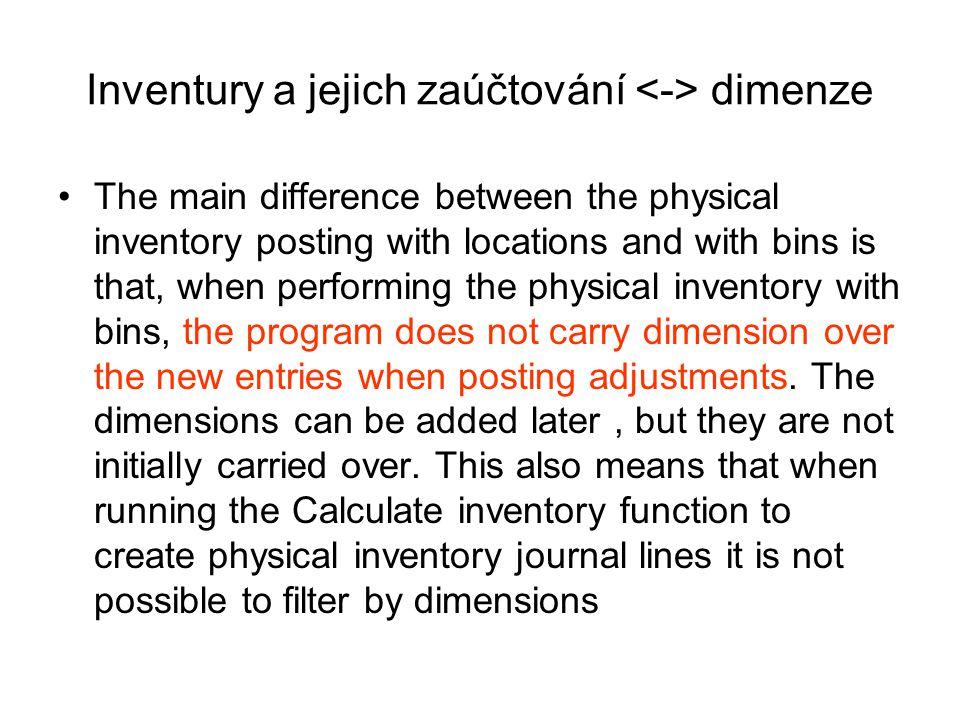 Inventury a jejich zaúčtování <-> dimenze