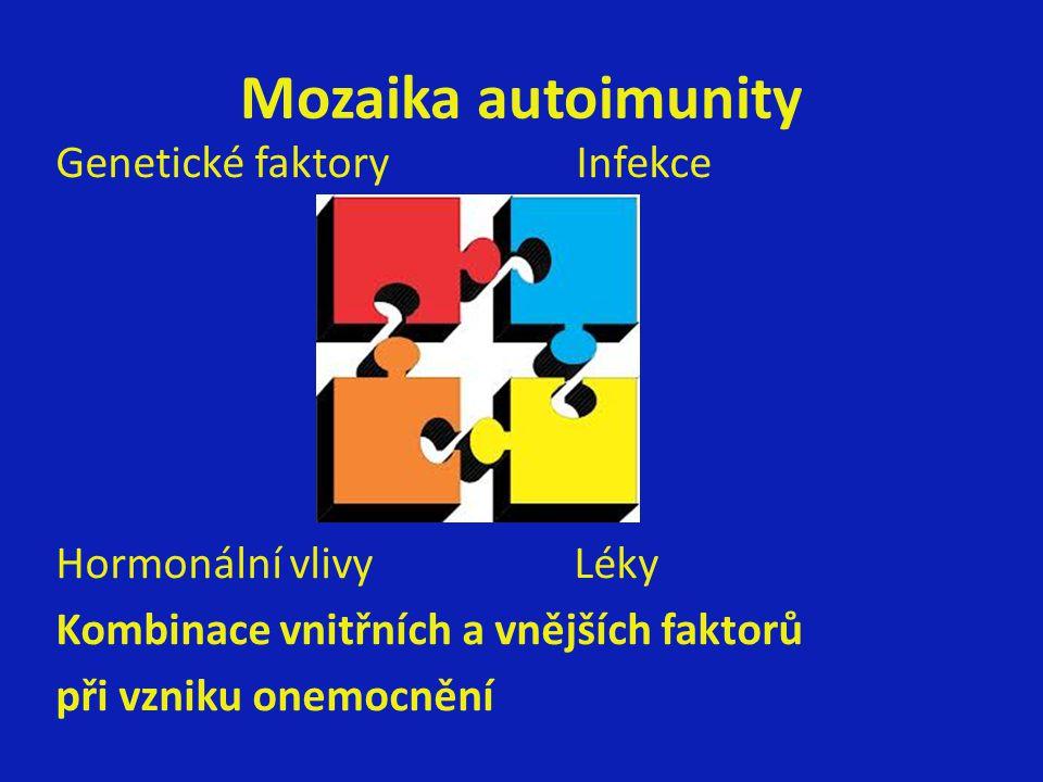 Mozaika autoimunity Genetické faktory Infekce Hormonální vlivy Léky Kombinace vnitřních a vnějších faktorů při vzniku onemocnění