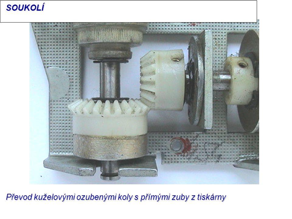 SOUKOLÍ Převod kuželovými ozubenými koly s přímými zuby z tiskárny