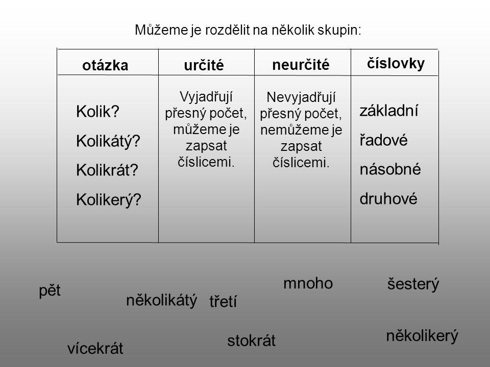 Kolik základní Kolikátý řadové Kolikrát násobné Kolikerý druhové