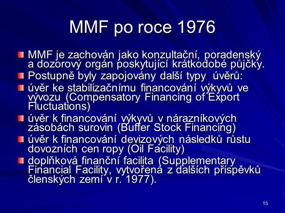 MMF po roce 1976 MMF je zachován jako konzultační, poradenský a dozorový orgán poskytující krátkodobé půjčky.