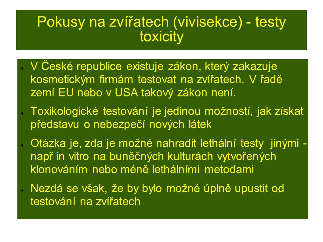 Pokusy na zvířatech (vivisekce) - testy toxicity