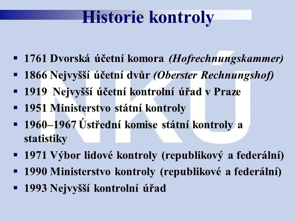 Historie kontroly 1761 Dvorská účetní komora (Hofrechnungskammer)
