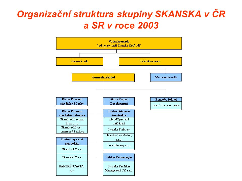 Organizační struktura skupiny SKANSKA v ČR a SR v roce 2003