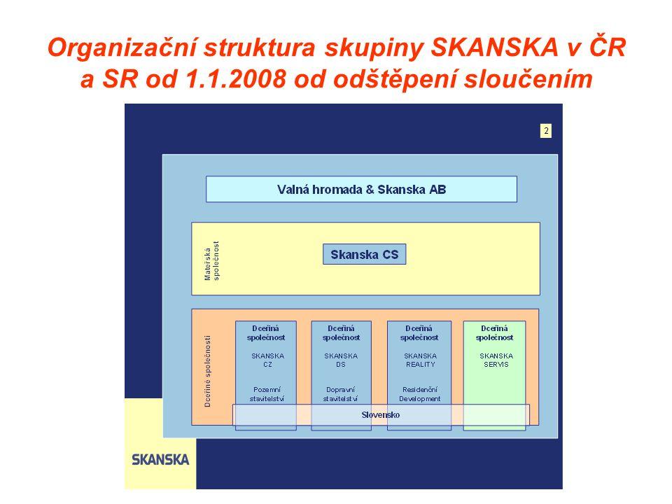 Organizační struktura skupiny SKANSKA v ČR a SR od 1. 1