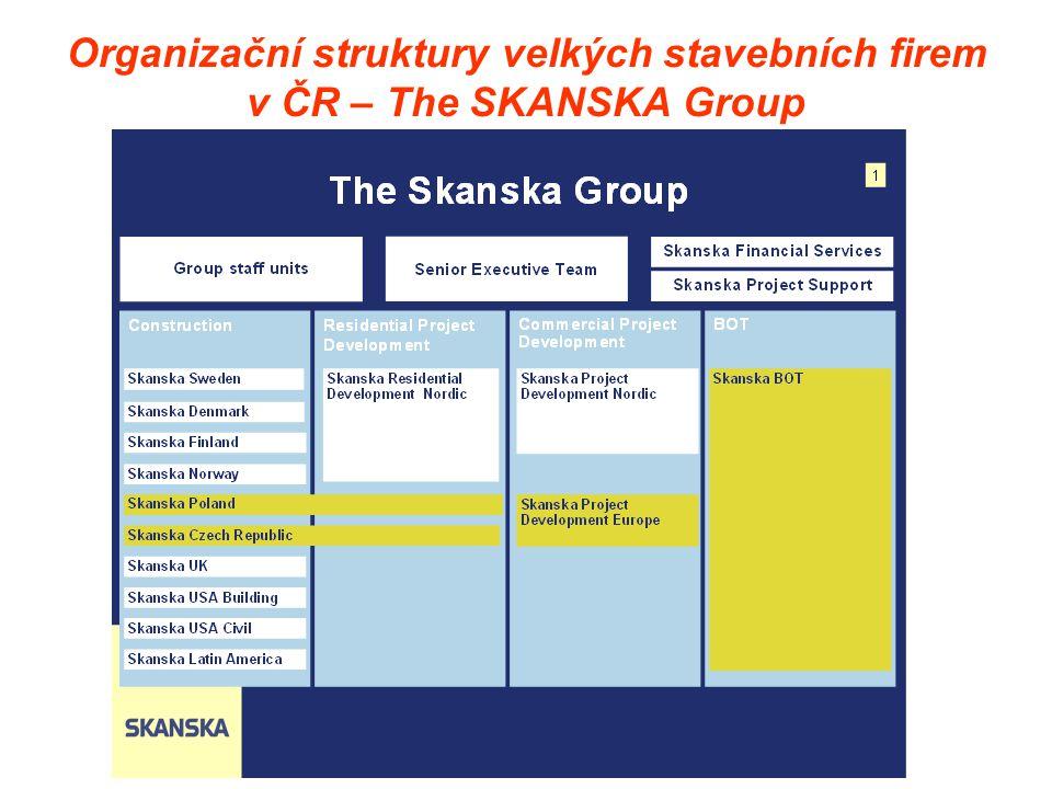 Organizační struktury velkých stavebních firem v ČR – The SKANSKA Group