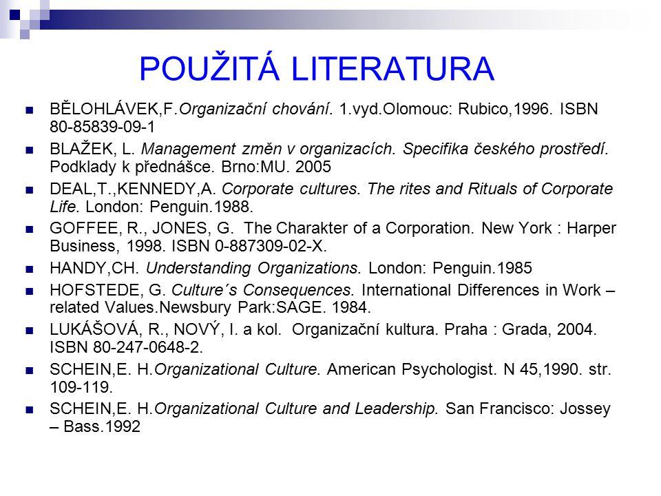 POUŽITÁ LITERATURA BĚLOHLÁVEK,F.Organizační chování. 1.vyd.Olomouc: Rubico,1996. ISBN 80-85839-09-1.