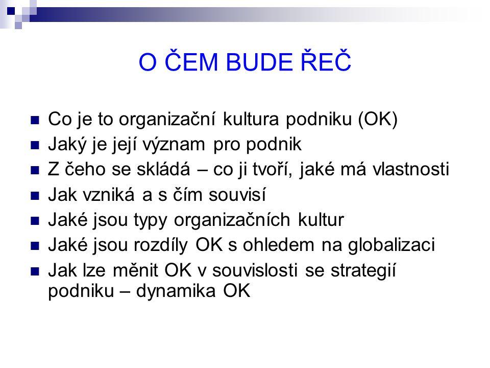 O ČEM BUDE ŘEČ Co je to organizační kultura podniku (OK)