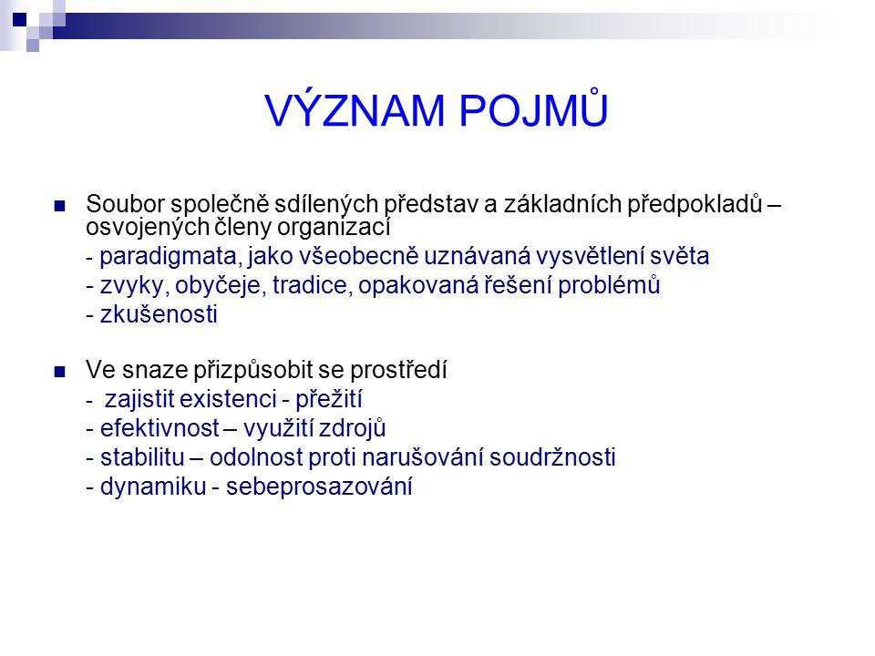 VÝZNAM POJMŮ Soubor společně sdílených představ a základních předpokladů – osvojených členy organizací.