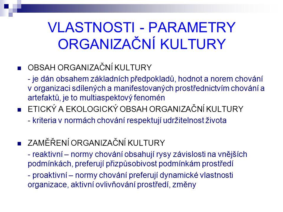 VLASTNOSTI - PARAMETRY ORGANIZAČNÍ KULTURY