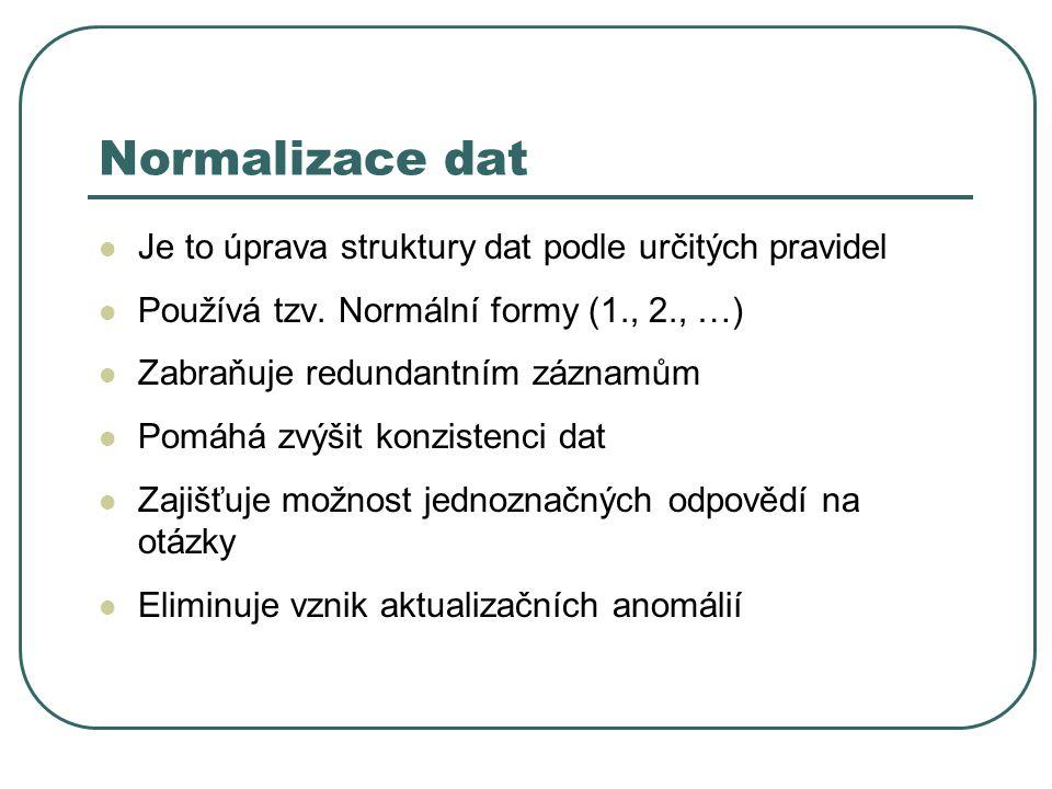 Normalizace dat Je to úprava struktury dat podle určitých pravidel