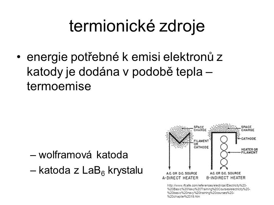 termionické zdroje energie potřebné k emisi elektronů z katody je dodána v podobě tepla – termoemise.