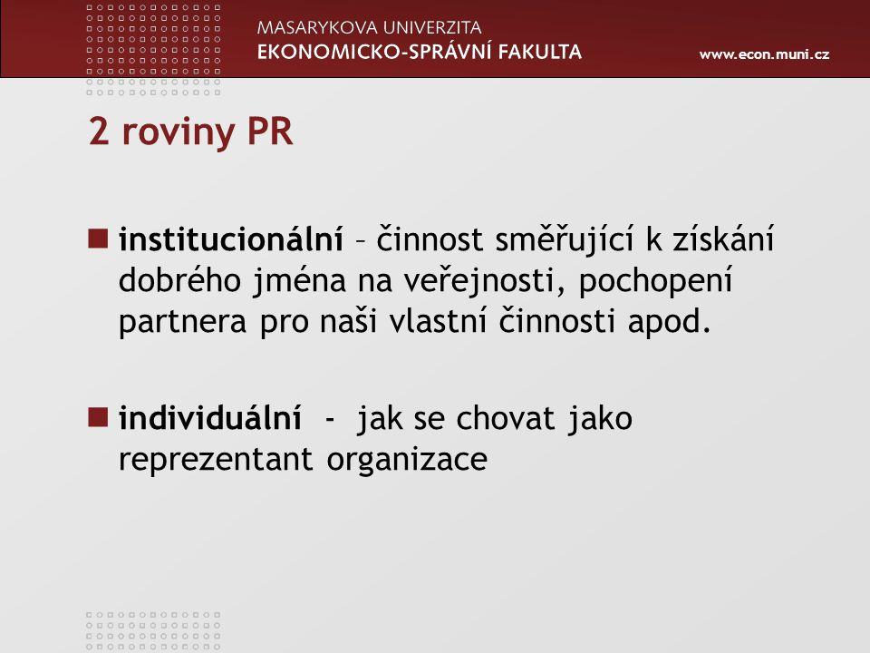 2 roviny PR institucionální – činnost směřující k získání dobrého jména na veřejnosti, pochopení partnera pro naši vlastní činnosti apod.