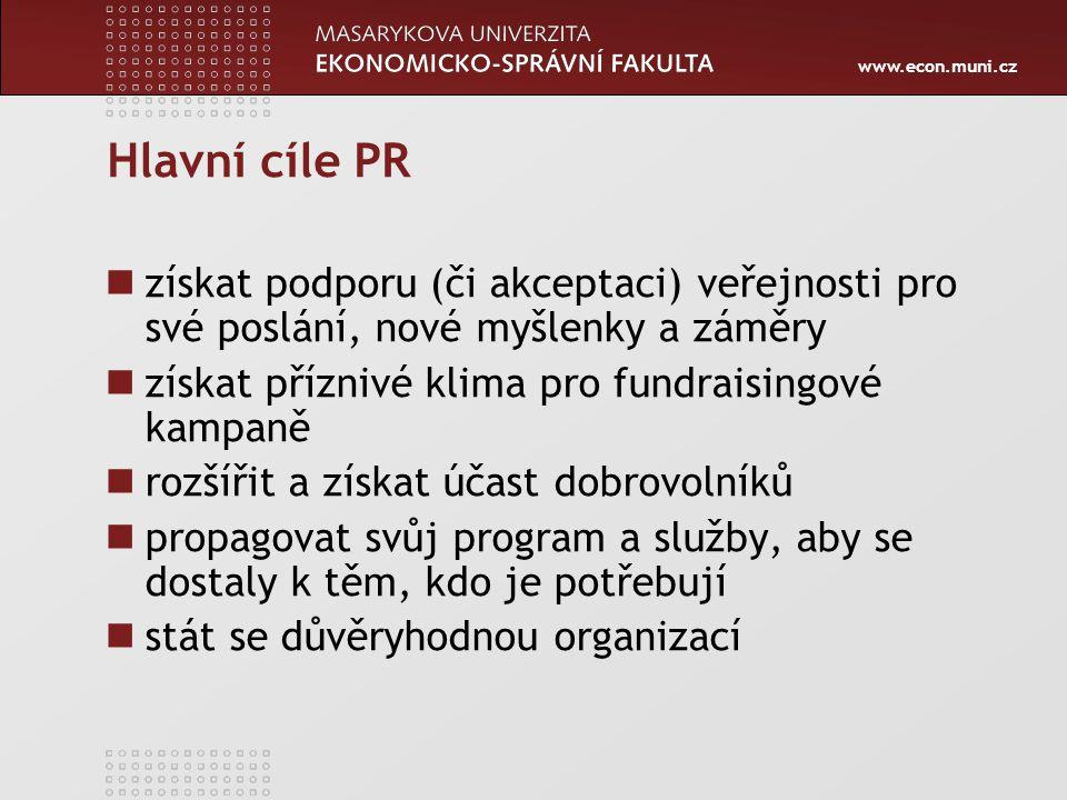 Hlavní cíle PR získat podporu (či akceptaci) veřejnosti pro své poslání, nové myšlenky a záměry. získat příznivé klima pro fundraisingové kampaně.