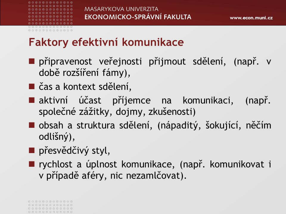 Faktory efektivní komunikace