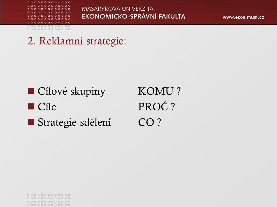 2. Reklamní strategie: Cílové skupiny KOMU Cíle PROČ Strategie sdělení CO