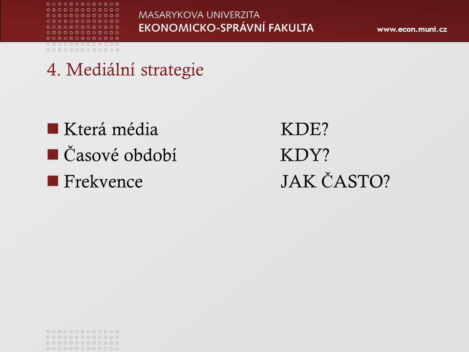 4. Mediální strategie Která média KDE Časové období KDY Frekvence JAK ČASTO