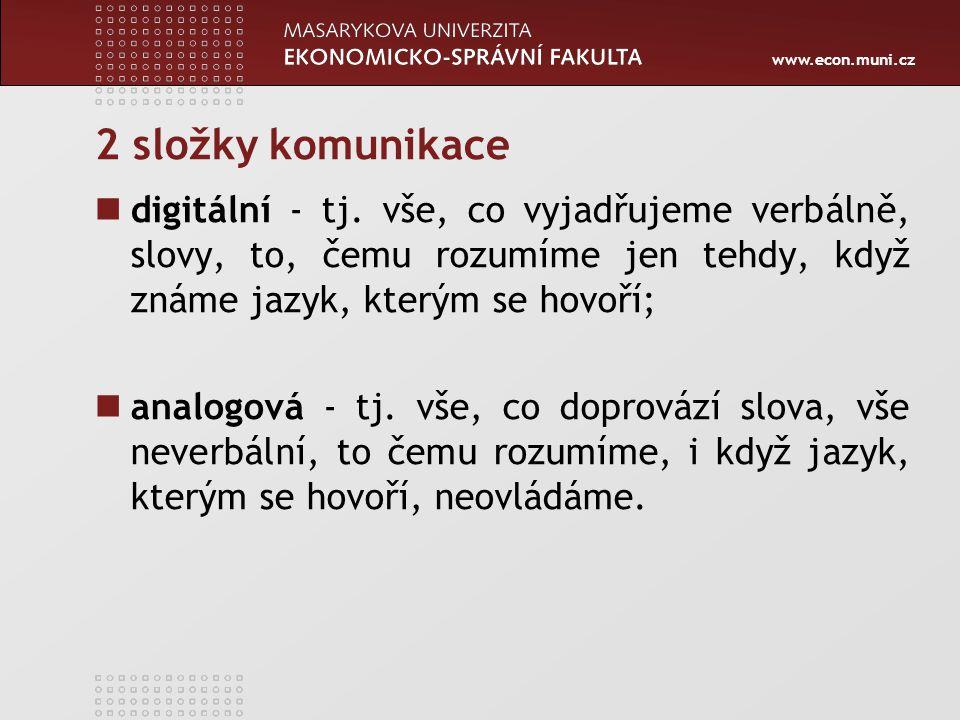 2 složky komunikace digitální - tj. vše, co vyjadřujeme verbálně, slovy, to, čemu rozumíme jen tehdy, když známe jazyk, kterým se hovoří;