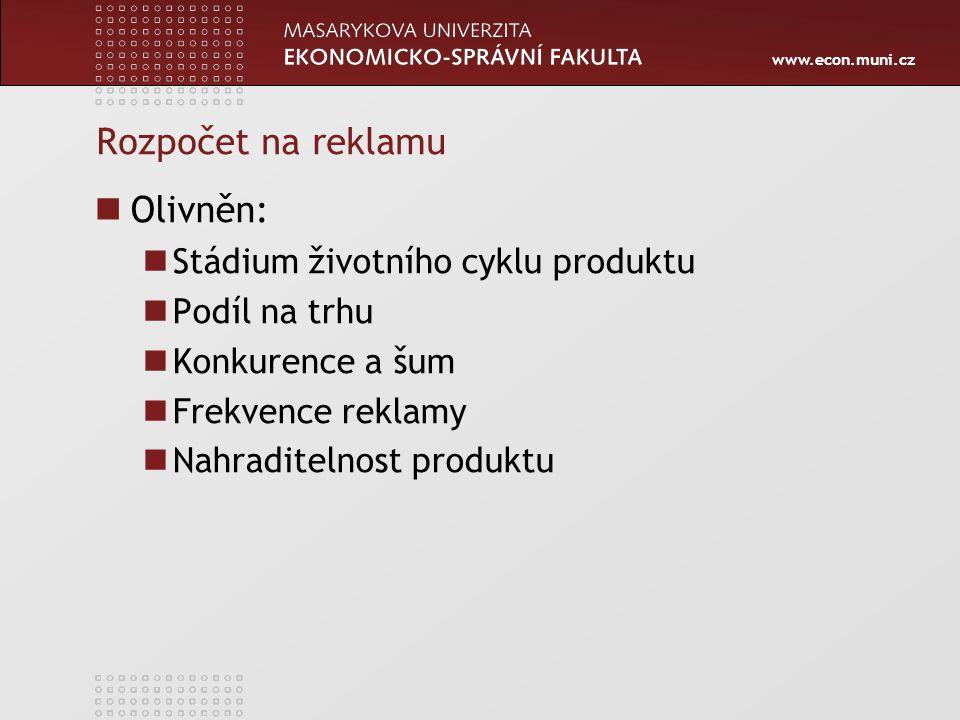 Rozpočet na reklamu Olivněn: Stádium životního cyklu produktu