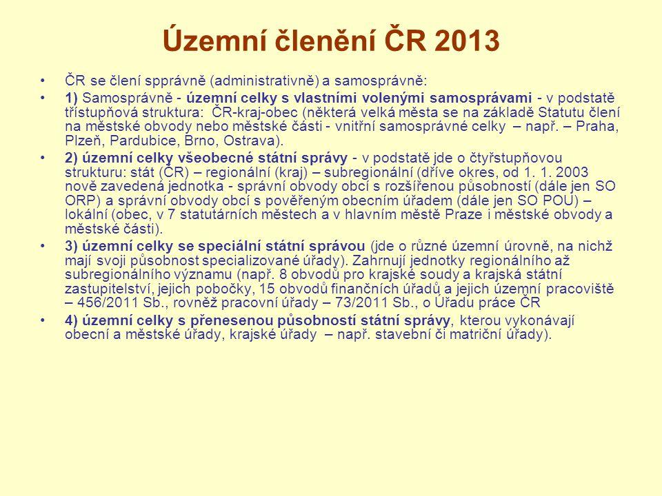 Územní členění ČR 2013 ČR se člení spprávně (administrativně) a samosprávně: