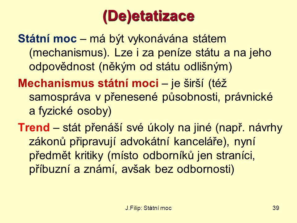 (De)etatizace Státní moc – má být vykonávána státem (mechanismus). Lze i za peníze státu a na jeho odpovědnost (někým od státu odlišným)