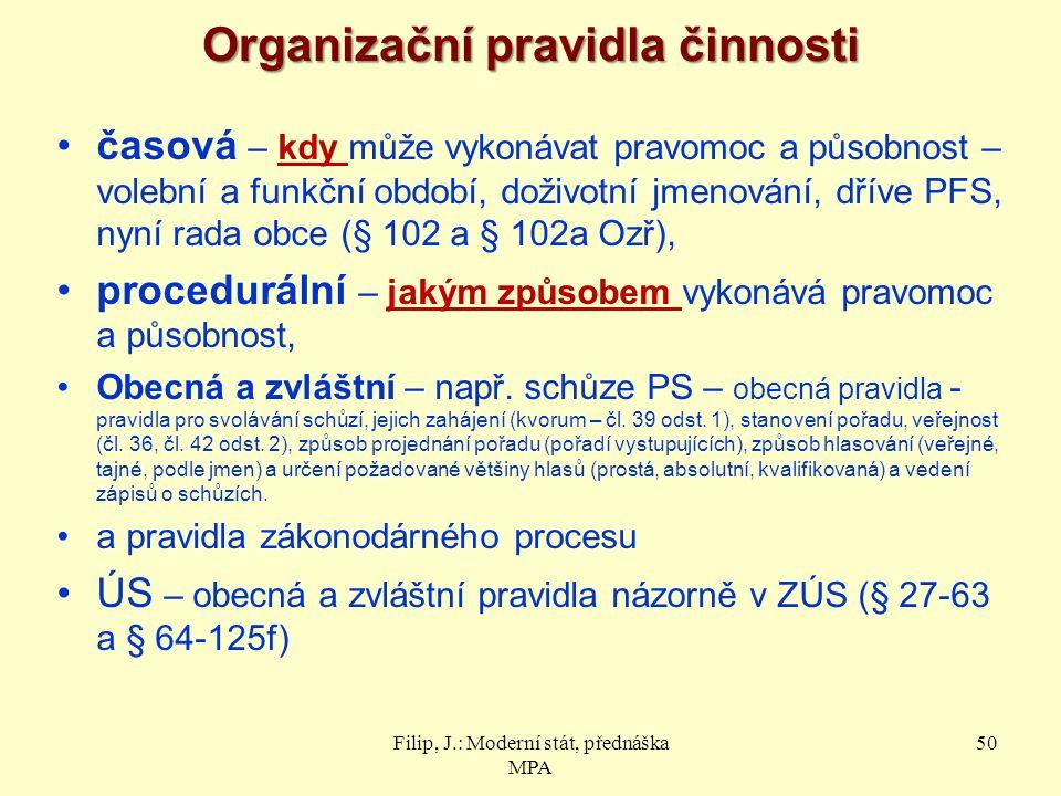 Organizační pravidla činnosti
