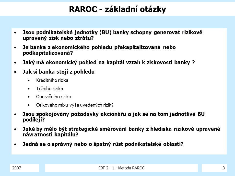 RAROC - základní otázky