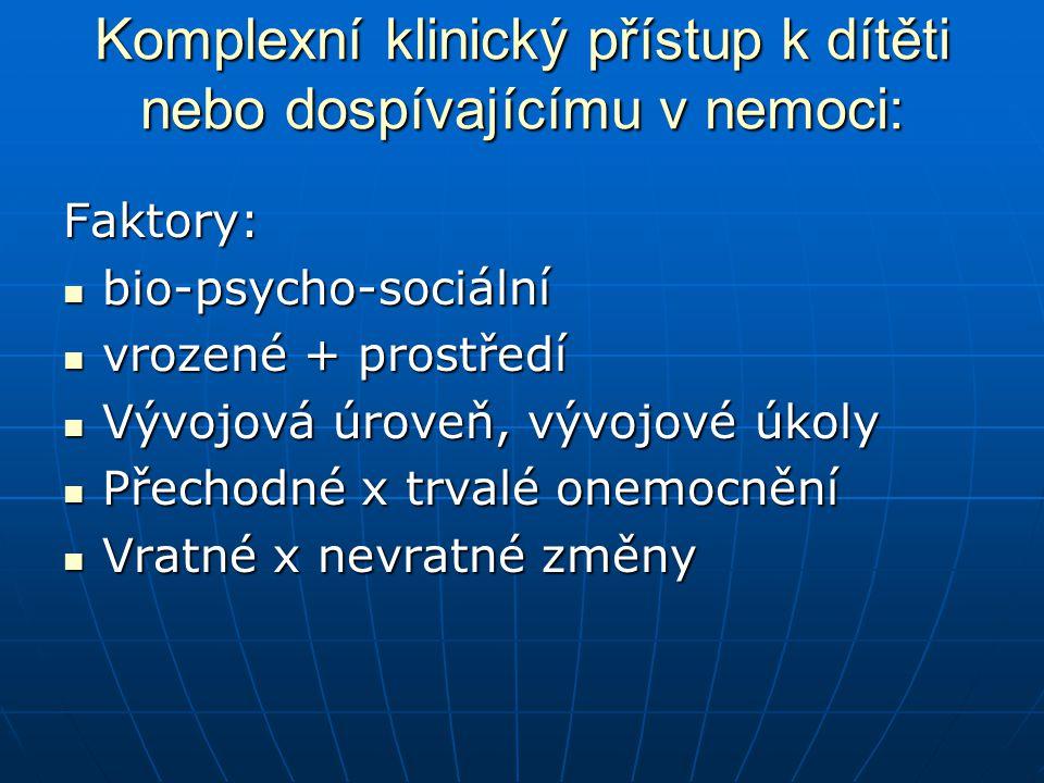 Komplexní klinický přístup k dítěti nebo dospívajícímu v nemoci: