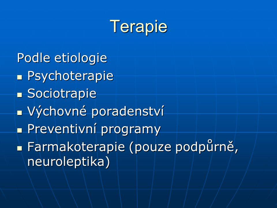 Terapie Podle etiologie Psychoterapie Sociotrapie Výchovné poradenství