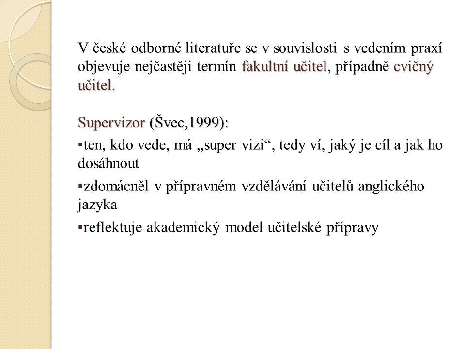 V české odborné literatuře se v souvislosti s vedením praxí objevuje nejčastěji termín fakultní učitel, případně cvičný učitel.