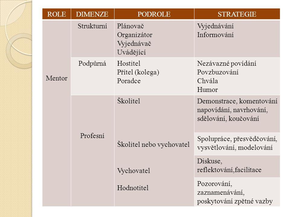 ROLE DIMENZE. PODROLE. STRATEGIE. Mentor. Strukturní. Plánovač. Organizátor. Vyjednávač. Uvádějící.