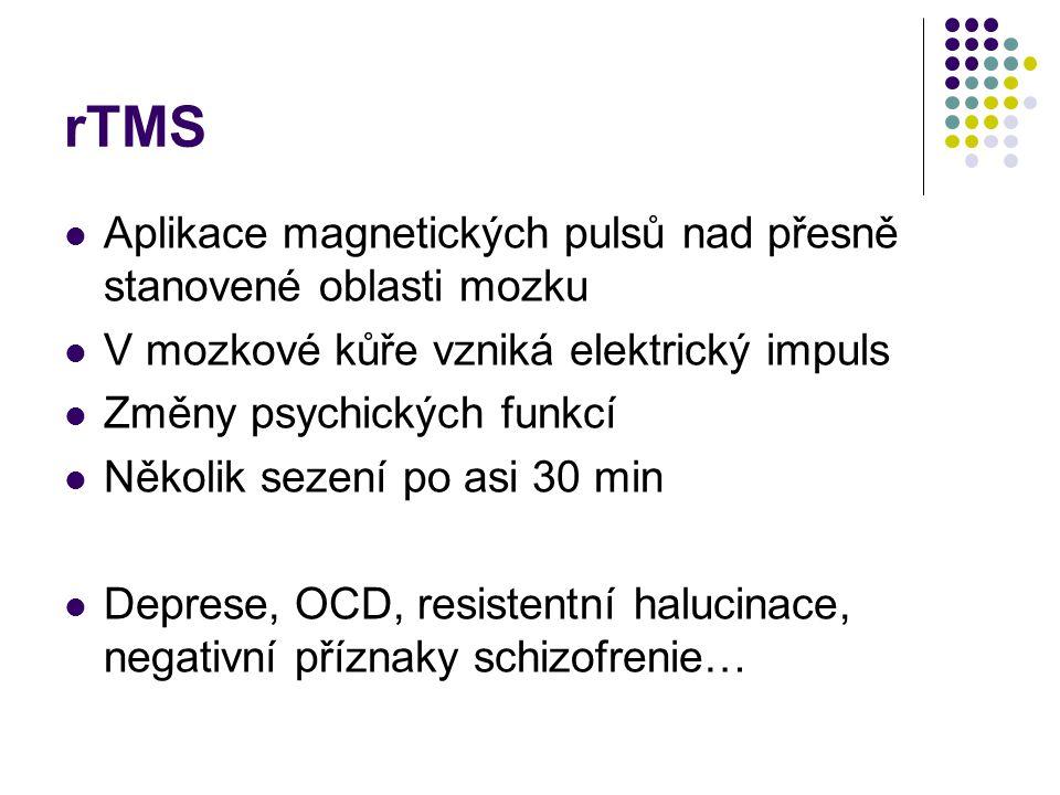 rTMS Aplikace magnetických pulsů nad přesně stanovené oblasti mozku