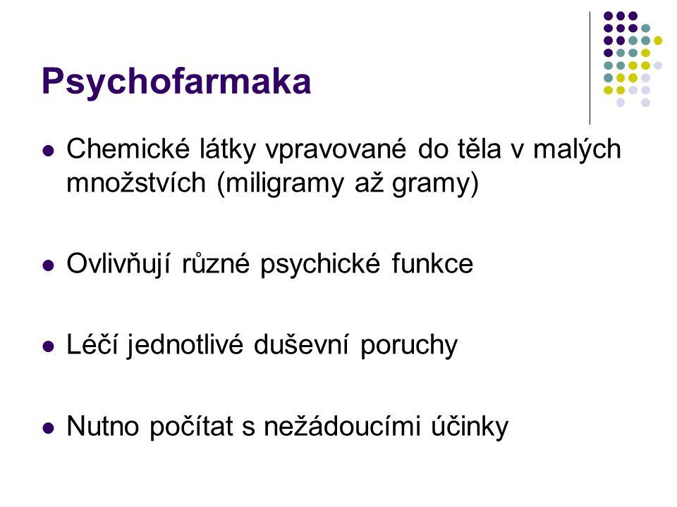 Psychofarmaka Chemické látky vpravované do těla v malých množstvích (miligramy až gramy) Ovlivňují různé psychické funkce.