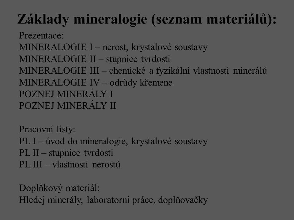 Základy mineralogie (seznam materiálů):