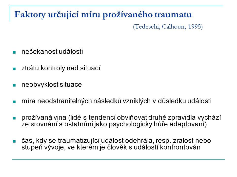 Faktory určující míru prožívaného traumatu (Tedeschi, Calhoun, 1995)