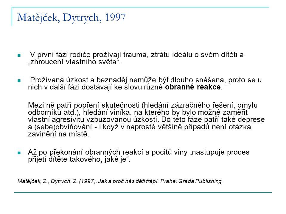 """Matějček, Dytrych, 1997 V první fázi rodiče prožívají trauma, ztrátu ideálu o svém dítěti a """"zhroucení vlastního světa ."""
