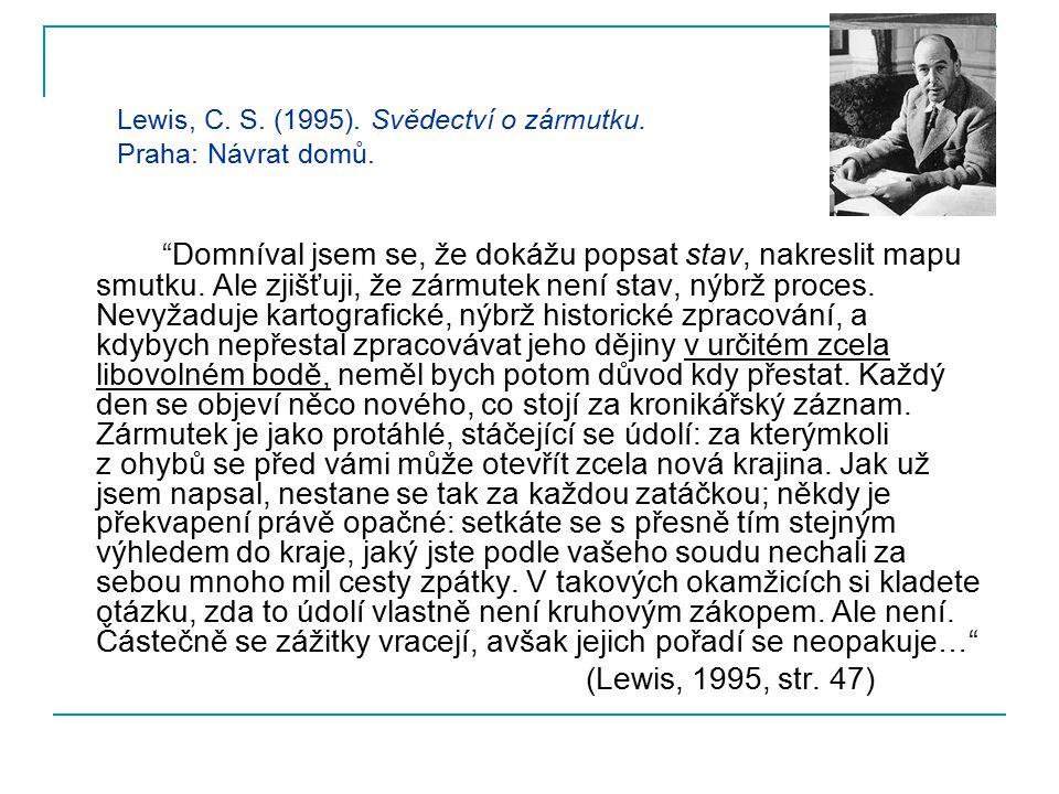 Lewis, C. S. (1995). Svědectví o zármutku. Praha: Návrat domů.