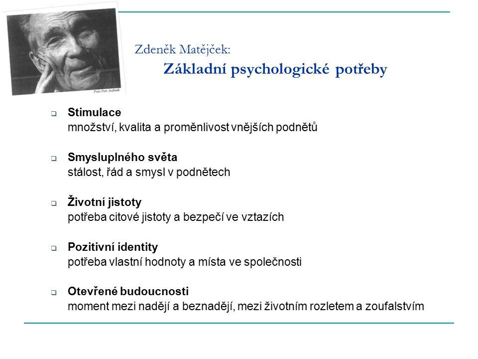 Zdeněk Matějček: Základní psychologické potřeby