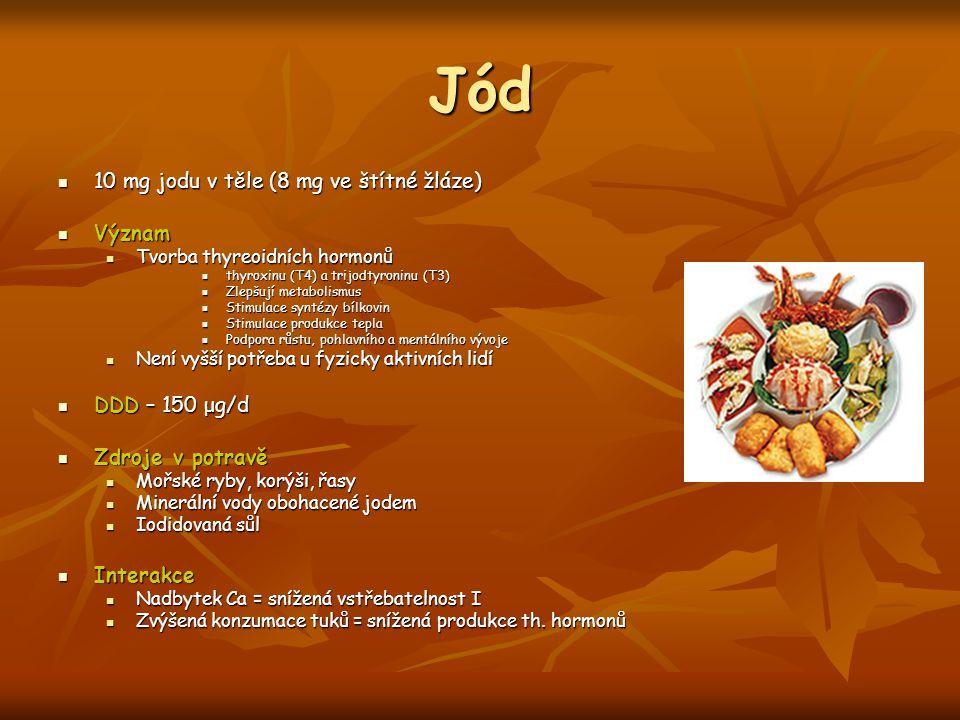Jód 10 mg jodu v těle (8 mg ve štítné žláze) Význam DDD – 150 μg/d