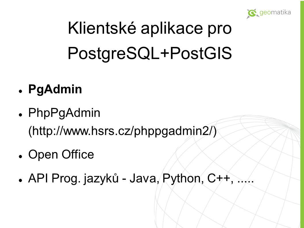 Klientské aplikace pro PostgreSQL+PostGIS