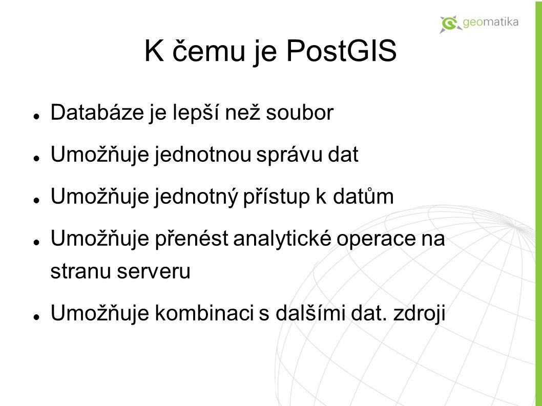 K čemu je PostGIS Databáze je lepší než soubor