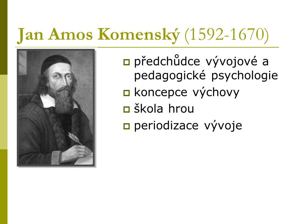Jan Amos Komenský (1592-1670) předchůdce vývojové a pedagogické psychologie. koncepce výchovy. škola hrou.